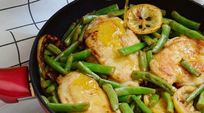 Медово-лимонная курица со спаржевой фасолью