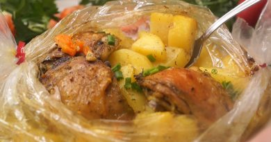 Сытный ужин в рукаве - картошечка с куриными ножками