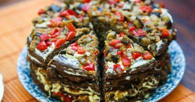 Печеночный торт с баклажанами