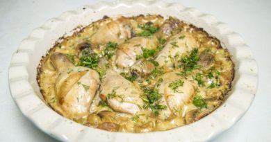 Куриные голени в грибном соусе