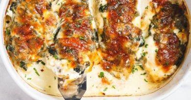 Куриные грудки со шпинатом и крем-чизом