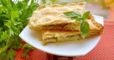 Пирог из слоеного теста с картофелем и сайрой
