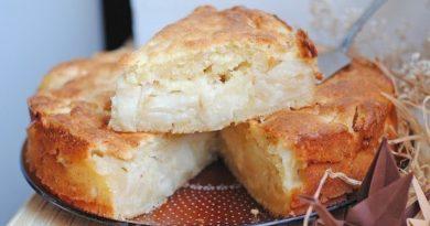 Творожный пирог с яблоками.