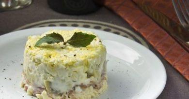 Салат с ветчиной и творожным сыром