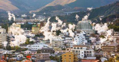 Японский город Беппу, который стоит на вулкане.