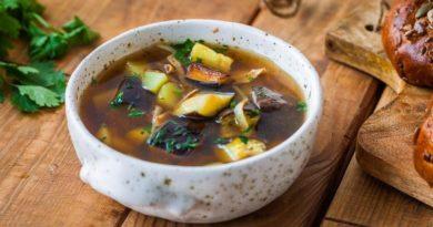 Суп из баклажан с грибами