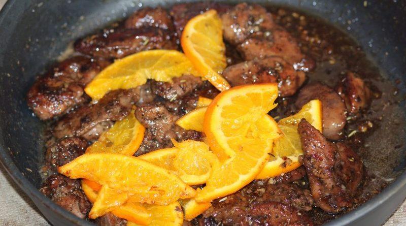 Жареная печень с апельсинами