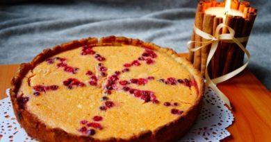 Тыквенный пирог с клюквой