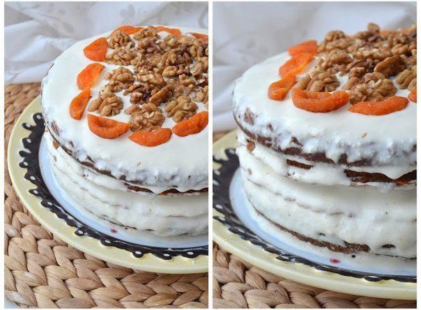 Морковный торт с грецкими орехами и сметанным кремом