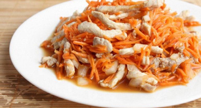 Салат с курицей и морковью по-корейски